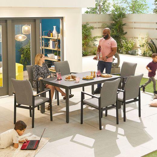 Hugo Outdoor Fabric 6 Seat Rectangular Dining Set - Light Grey