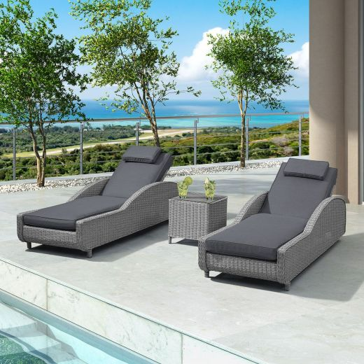 Madison Sun Lounger Set - White Wash