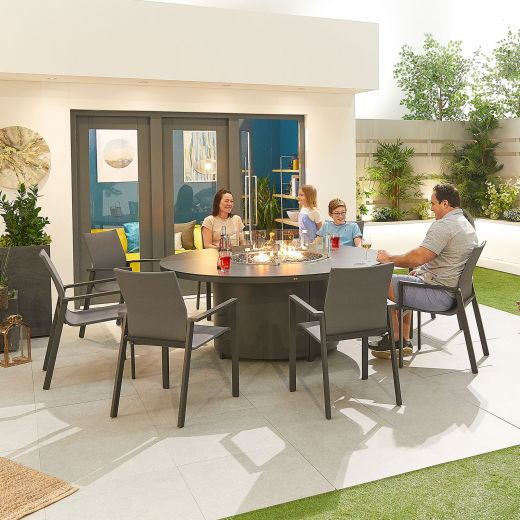 Roma 8 Seat Dining Set - 1.8m Round Firepit Table - Grey Frame