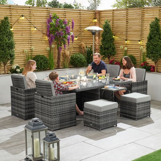 Celia 4 Seat Deluxe Cube Set with Firepit Table & Ice Bucket - Grey