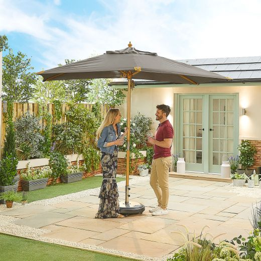 Dominica Deluxe 3m x 2m Rectangular Wooden Parasol - Double Pulley Operated - Grey
