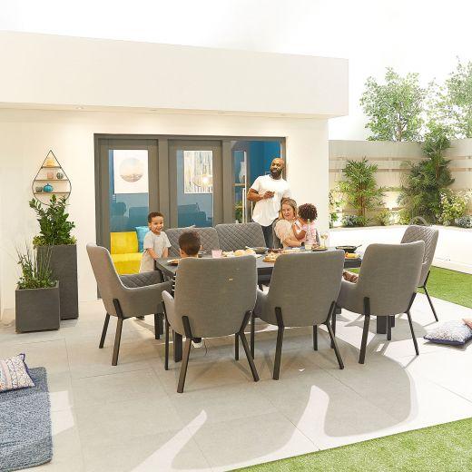 Genoa Outdoor Fabric 8 Seat Rectangular Dining Set - Light Grey