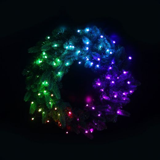 Twinkly Pre-Lit Multi Coloured & White Artificial Christmas Wreath