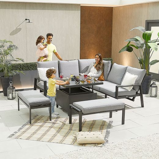 Compact Enna Aluminium Reclining Casual Dining Corner Sofa Set with Rising Table & Benches - Grey Frame