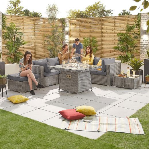 Heritage Chelsea 1C Corner Sofa Set with Firepit Table - White Wash