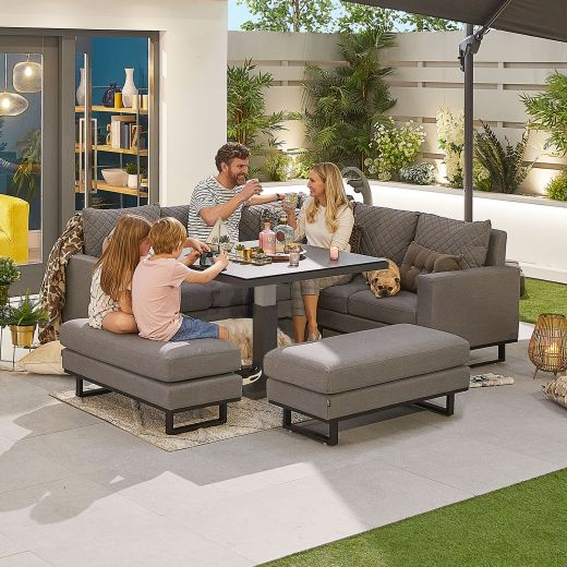 Compact Eclipse Outdoor Fabric Casual Dining Set with Benches and Rising Table - Light Grey