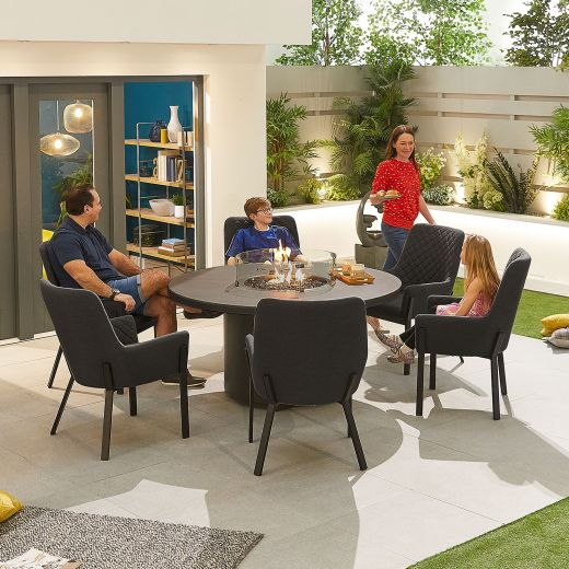 Genoa Outdoor Fabric 6 Seat Round Dining Set with Firepit Table - Dark Grey