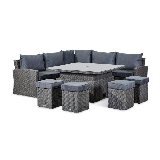 Deluxe Ciara Casual Dining Corner Sofa Set with Parasol Hole - Slate Grey