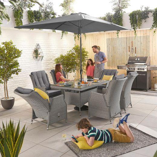 Carolina 6 Seat Dining Set - 1.5m x 1m Rectangular Table - White Wash