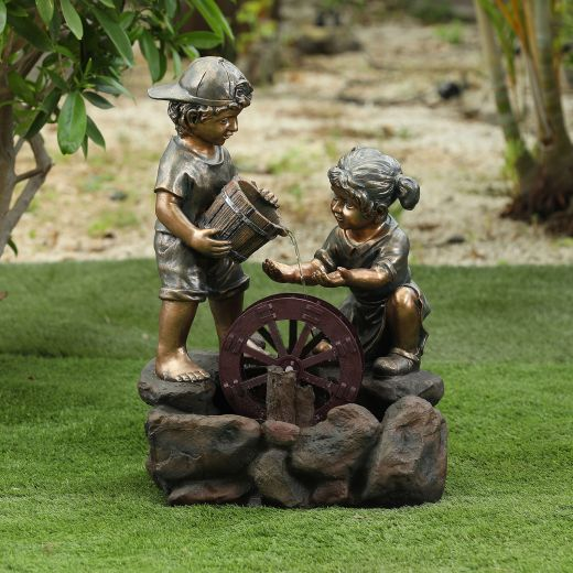 Jack And Jill Water Wheel Water Feature - Bronze