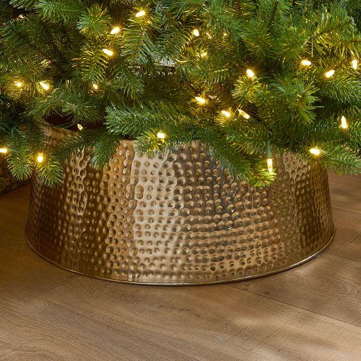 70cm Metal Christmas Tree Skirt - Gold