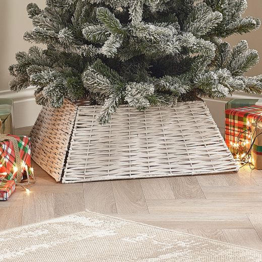 60cm Square Willow Christmas Tree Skirt (Collapsible) - White