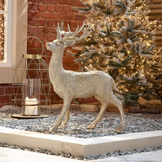Promise the 76cm Gold Proud Standing Christmas Reindeer