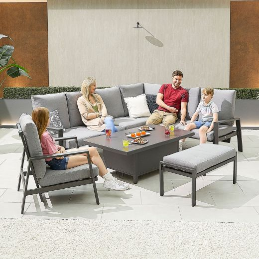 Enna Right Hand Aluminium Reclining Casual Dining Corner Sofa Set with Rising Table & Armchair & Bench - Grey Frame