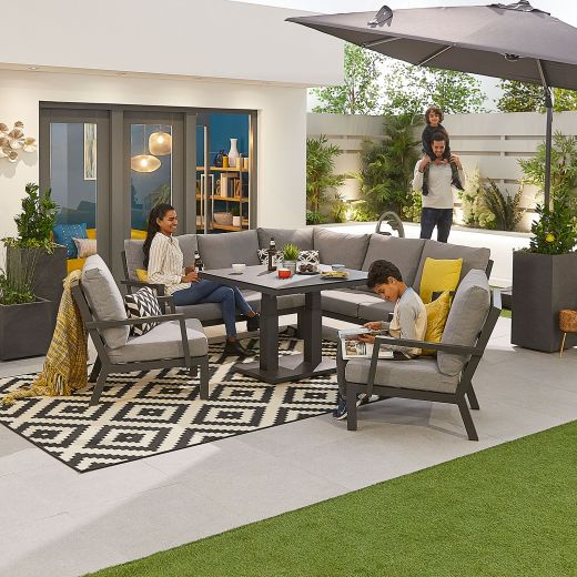 Compact Vogue Aluminium Casual Dining Corner Sofa Set with Rising Table & Armchairs - Grey Frame