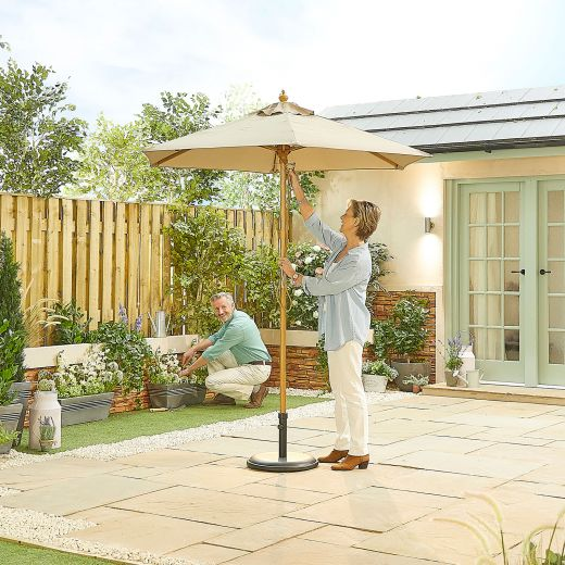 Dominica 2m Round Wooden Parasol - Pulley Operated - Taupe