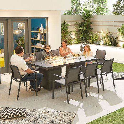 Milano 8 Seat Dining Set - 2m x 1m Rectangular Firepit Table - Grey Frame