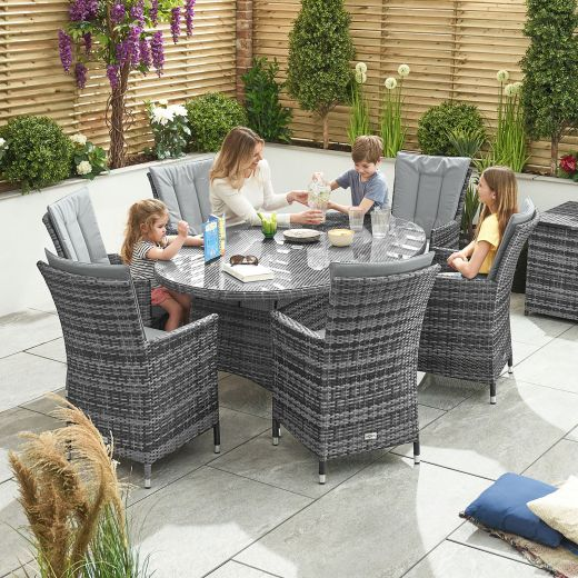 Sienna 6 Seat Dining Set - 1.8m x 1.2m Oval Table - Grey