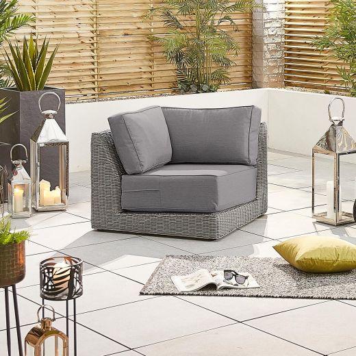 Luxor Square Corner Sofa Section - White Wash