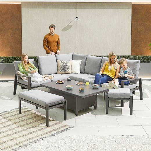 Enna Left Hand Aluminium Reclining Casual Dining Corner Sofa Set with Rising Table & Bench & Footstool - Grey Frame