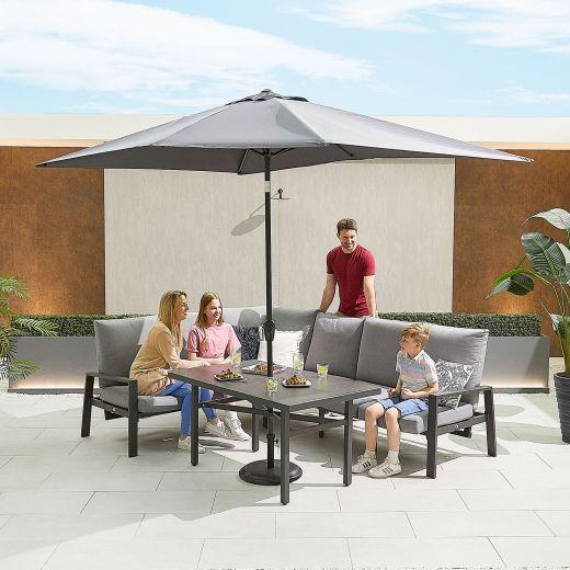 Enna Left Hand Aluminium Reclining Casual Dining Corner Sofa Set with Parasol Hole - Grey Frame