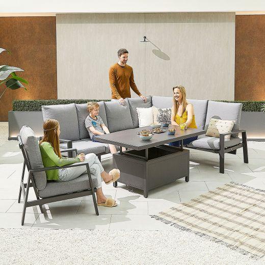 Enna Right Hand Aluminium Reclining Casual Dining Corner Sofa Set with Rising Table & Armchair - Grey Frame