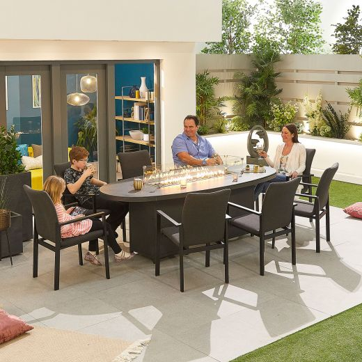 Hugo Outdoor Fabric 8 Seat Oval Dining Set with Firepit - Light Grey