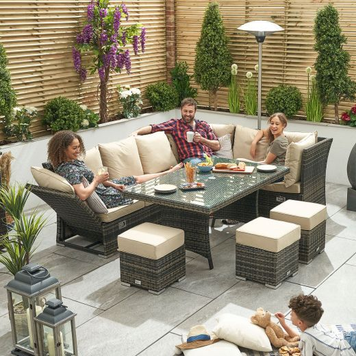Cambridge Right Hand Reclining Casual Dining Corner Sofa Set with Parasol Hole - Brown
