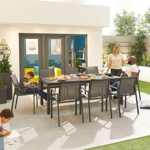 Milano 8 Seat Dining Set - 2m x 1m Rectangular Table - Grey Frame