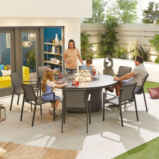 Milano 8 Seat Dining Set - 1.8m Round Firepit Table - Grey Frame