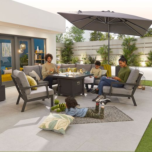 Compact Vogue Aluminium Casual Dining Corner Sofa Set with Firepit Table & Armchairs - Grey Frame