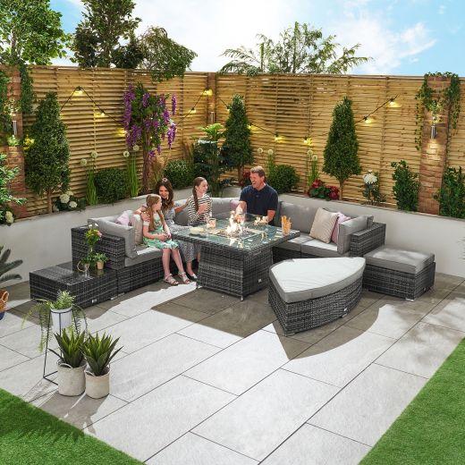 Deluxe Hampton 1C Corner Sofa Set with Gas Firepit Table - Grey