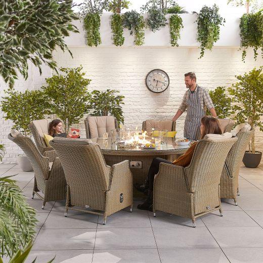 Carolina 8 Seat Dining Set - 1.8m Round Firepit Table - Willow