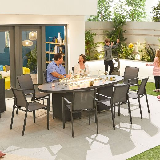 Milano 8 Seat Dining Set - 2.3m x 1.1m Oval Firepit Table - Grey Frame