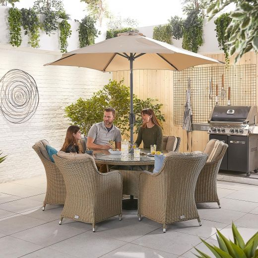 Camilla 6 Seat Dining Set - 1.35m Round Table - Willow