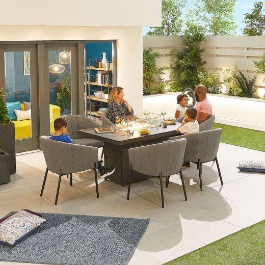 Edge Outdoor Fabric 6 Seat Rectangular Dining Set with Firepit - Light Grey