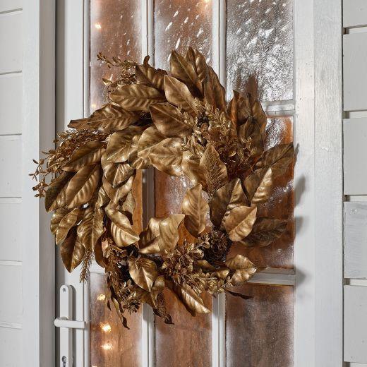 60cm Gold Leafy Artificial Christmas Wreath