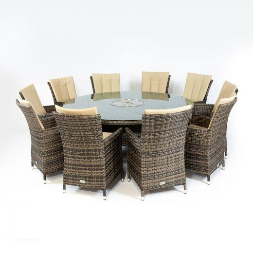 Sienna 10 Seat Dining Set - 1.8m Round Ice Bucket Table - Brown