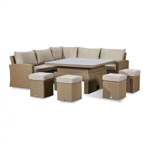 Deluxe Ciara Casual Dining Corner Sofa Set with Parasol Hole - Willow