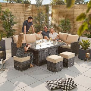 Cambridge Right Hand Casual Dining Corner Sofa Set with Firepit Table - Brown