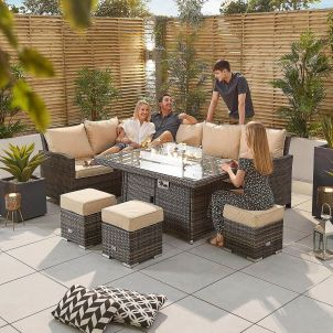 Cambridge Left Hand Casual Dining Corner Sofa Set with Firepit Table - Brown