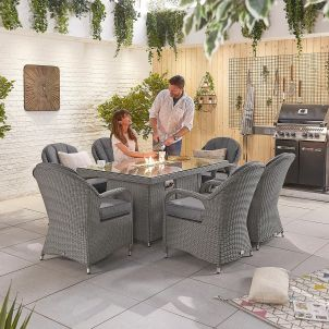 Leeanna 6 Seat Dining Set - 1.5m x 1m Rectangular Firepit Table - Slate Grey