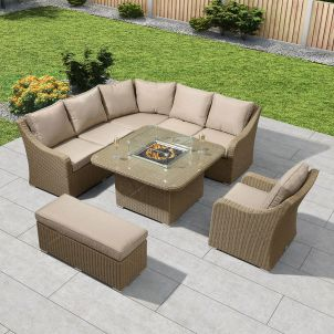 Harper Casual Dining Corner Sofa Set with Firepit Table - Willow