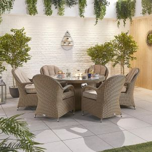 Leeanna 6 Seat Dining Set - 1.5m Round Firepit Table - Willow
