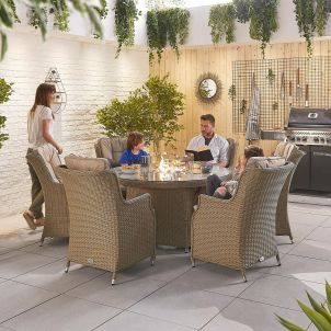 Thalia 6 Seat Dining Set - 1.5m Round Firepit Table - Willow