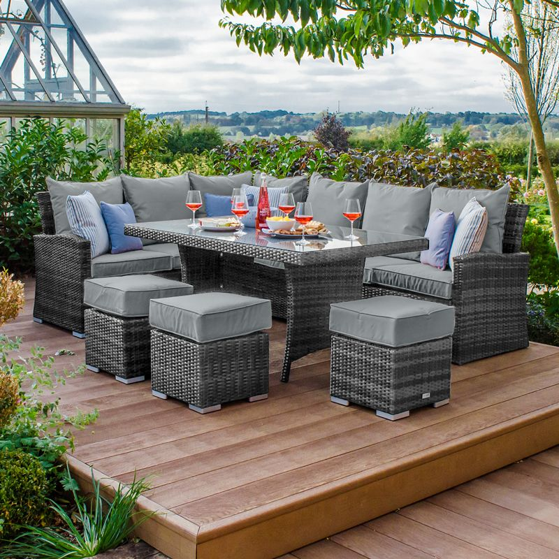 Nova - Cambridge Casual Dining Rattan Corner Sofa Set (Left Hand) - Grey